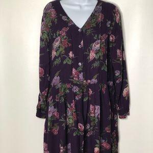 Vtg April Cornell Rayon Floral Women's Dress